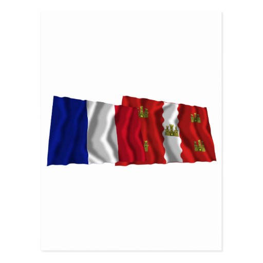 France & Vienne waving flags Postcard