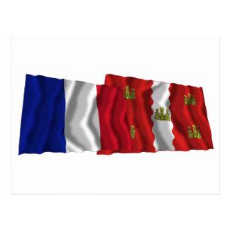 France & Vienne waving flags Postcard