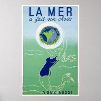 France Vintage Travel Poster Restored