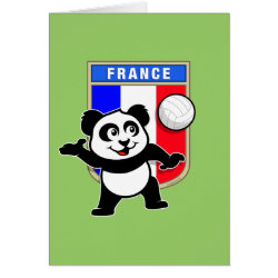 Note Card with France Volleyball Panda design