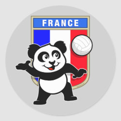 Round Sticker with France Volleyball Panda design