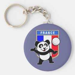 Basic Button Keychain with France Volleyball Panda design