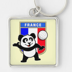 Premium Square Keychain with France Volleyball Panda design