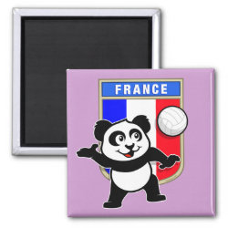 Square Magnet with France Volleyball Panda design
