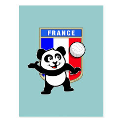 Postcard with France Volleyball Panda design