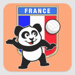 Square Sticker with France Volleyball Panda design