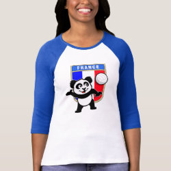France Volleyball Panda Ladies Raglan Fitted T-Shirt