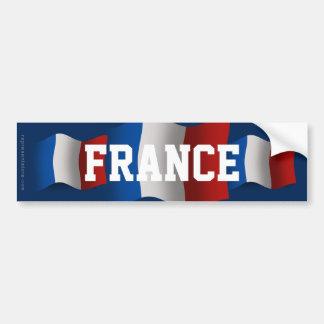 France Waving Flag Car Bumper Sticker