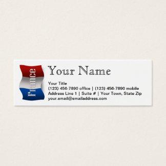 France Waving Flag Mini Business Card
