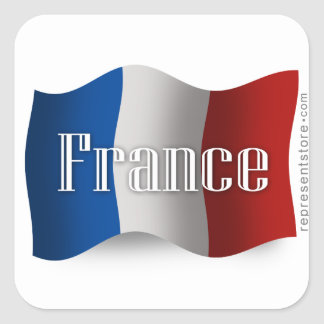 France Waving Flag Square Sticker