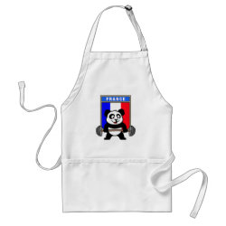 Apron with France Weightlifting Panda design