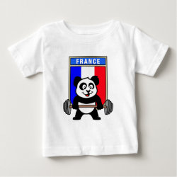 Baby Fine Jersey T-Shirt with France Weightlifting Panda design