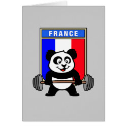 Greeting Card with France Weightlifting Panda design