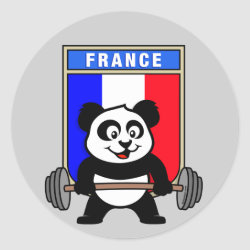 Round Sticker with France Weightlifting Panda design