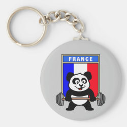 Basic Button Keychain with France Weightlifting Panda design
