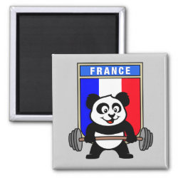 Square Magnet with France Weightlifting Panda design