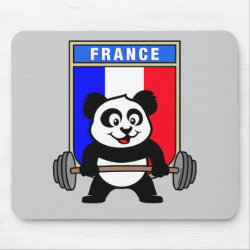 Mousepad with France Weightlifting Panda design