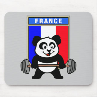 France Weightlifting Panda Mouse Pad