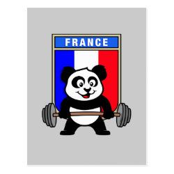 Postcard with France Weightlifting Panda design