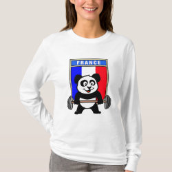 Women's Basic Long Sleeve T-Shirt with France Weightlifting Panda design