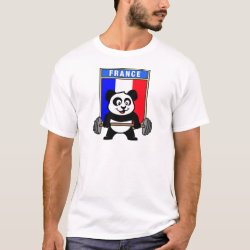 Men's Basic T-Shirt with France Weightlifting Panda design