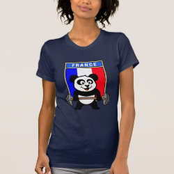 Women's American Apparel Fine Jersey Short Sleeve T-Shirt with France Weightlifting Panda design