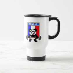 Travel / Commuter Mug with France Weightlifting Panda design