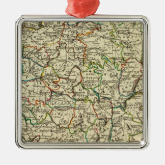 France with boundaries outlined square metal christmas ornament