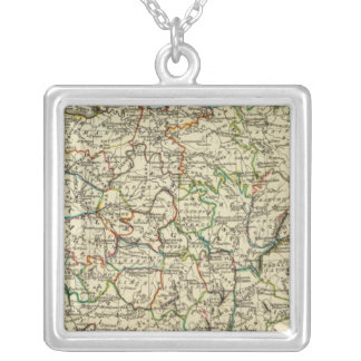 France with boundaries outlined square pendant necklace