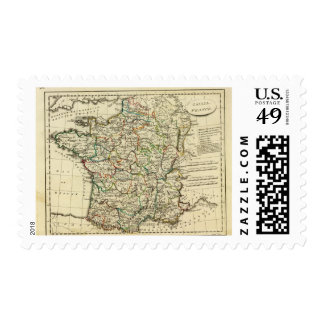 France with boundaries outlined stamp