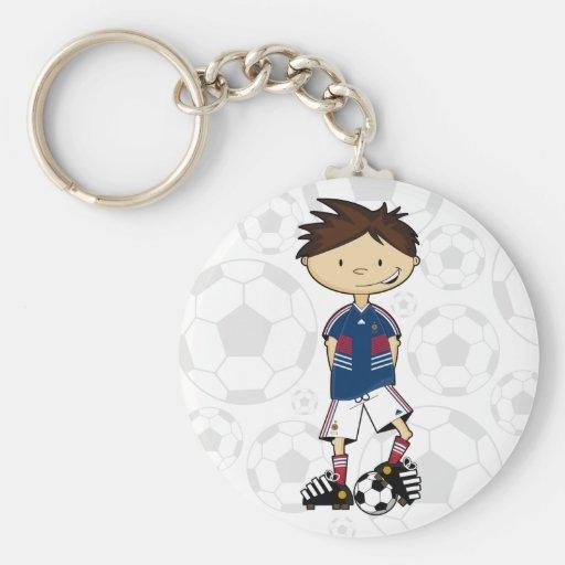 France World Cup Soccer Boy Basic Round Button Keychain