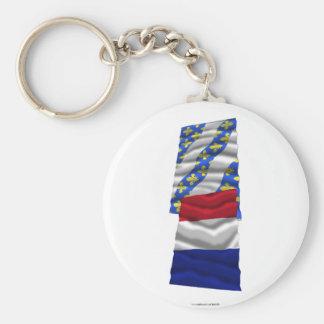 France & Yvelines waving flags Keychain