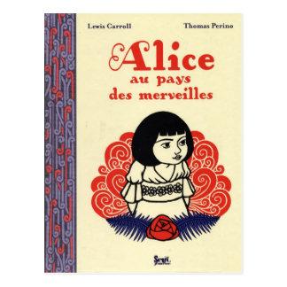 Francés Alicia del vintage en el país de las Postal