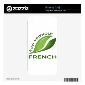 Francés amistoso de Eco Calcomanías Para El iPhone 4