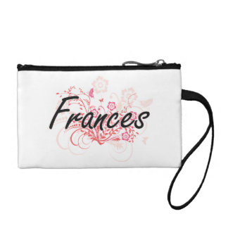 Frances Artistic Name Design with Flowers Coin Wallet