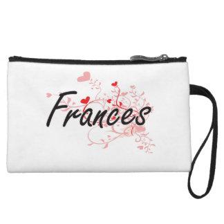 Frances Artistic Name Design with Hearts Wristlet Purse