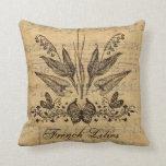 Francés botánico antiguo Lillies Almohada