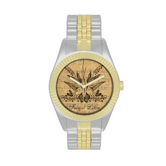 Francés botánico antiguo Lillies Reloj De Mano