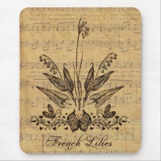 Francés botánico antiguo Lillies Tapete De Ratón