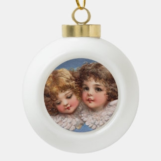 Frances Brundage: Angel Couple 1 Ceramic Ball Christmas Ornament