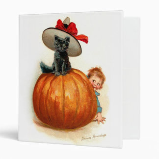 Frances Brundage: Black Cat, Pumpkin and a Boy 3 Ring Binder