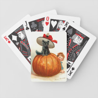 Frances Brundage: Black Cat, Pumpkin and a Boy Bicycle Playing Cards
