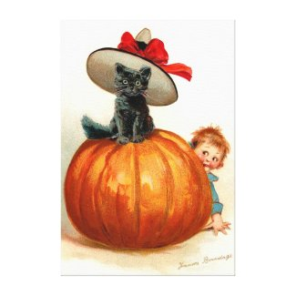 Frances Brundage: Black Cat, Pumpkin and a Boy