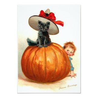 "Frances Brundage: Black Cat, Pumpkin and a Boy 5"" X 7"" Invitation Card"
