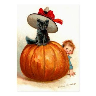 Frances Brundage: Black Cat, Pumpkin and a Boy Large Business Card