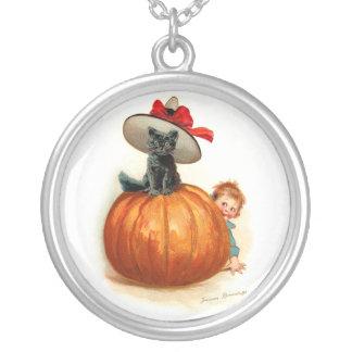 Frances Brundage: Black Cat, Pumpkin and a Boy Pendant