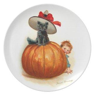 Frances Brundage: Black Cat, Pumpkin and a Boy
