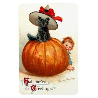 Frances Brundage: Black Cat, Pumpkin and a Boy Rectangular Photo Magnet