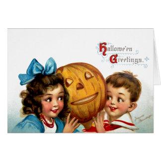 Frances Brundage: Boy and Girl with Jack O'Lantern Card
