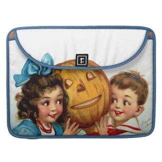 Frances Brundage: Boy and Girl with Jack O'Lantern Sleeve For MacBooks